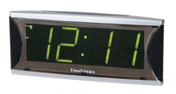 Clock Low Vision w/ Jumbo Green LED Display and Alarm