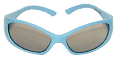Eye Glass, Adolescent/Intermediate Polarized Stereo in Blue Plastic Frames, for use with Stereo tests.