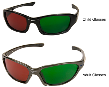 Red/Green Wraparound Glasses - Child