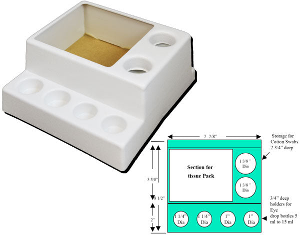 Drug Organizer for Fundus Camera, provides for a standard size square tissue box plus cotton swabs and four eye drop bottles