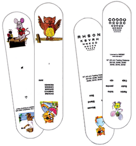 Patch Cat Sticks, set of 2 with Numbers, Letters, Landolt C's and figures.