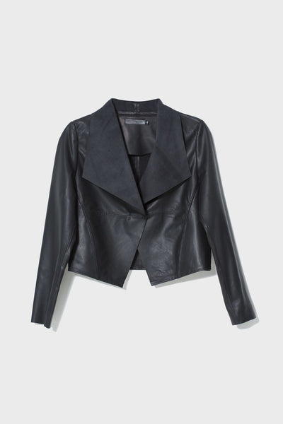 Fine Leather Lightweight Jacket Front Black