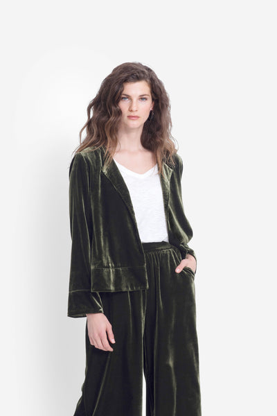 Metti Luxe Draped Velvet Jacket Model Front OLIVE