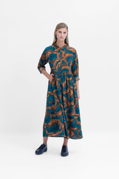 Fleur Print Shirt Long Sleeve Dress Model Front | DIJON FLEUR PRINT