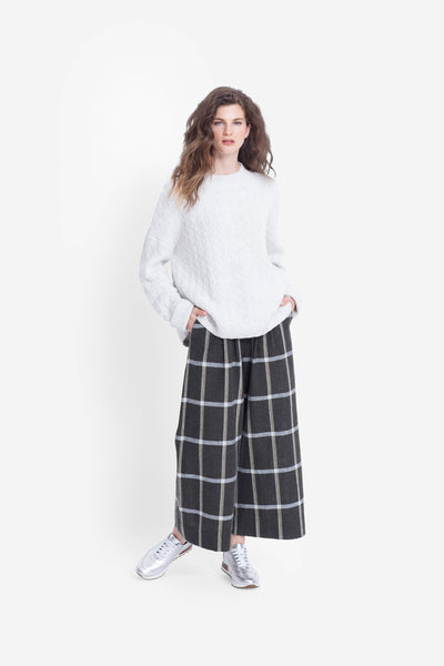 Alea Check Wide Leg Pant Model Front CHECK
