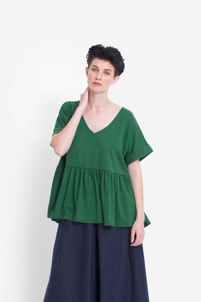 Alix Relaxed Fit Waist Gathered Top Model Front | PESTO
