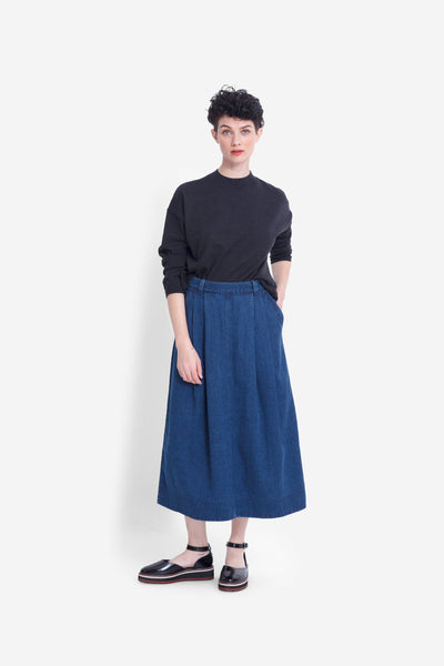Karee Mid Length Denim Skirt Model Front DENIM