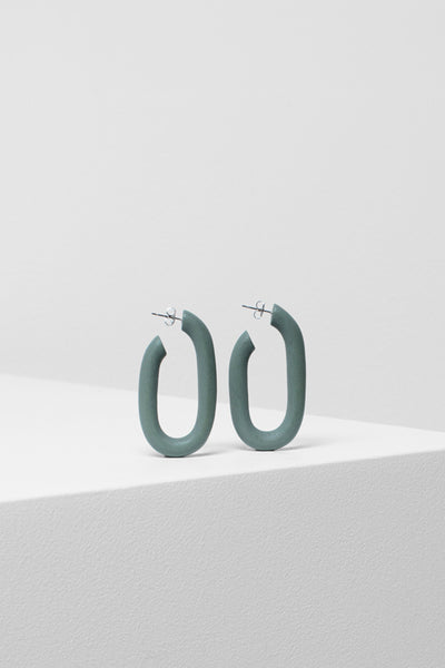Adora Handmade Timber Hoop Earrings Front GREY