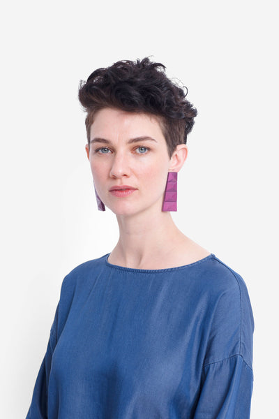 Malena Bright Coloured Artisan Wood Earrings Model Front BOYSENBERRY