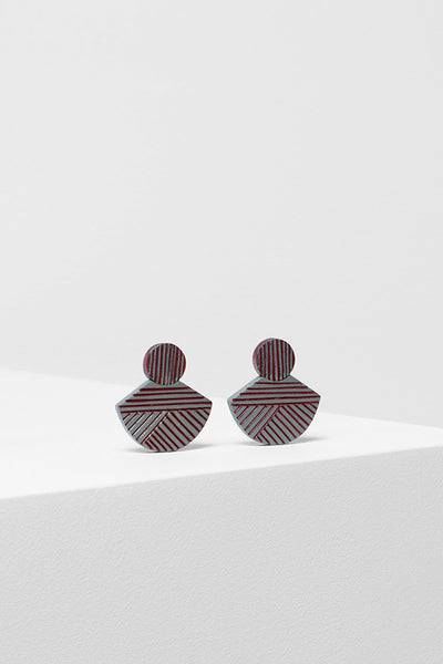 Elva Timber Earring Front RUST / LUNA GREY