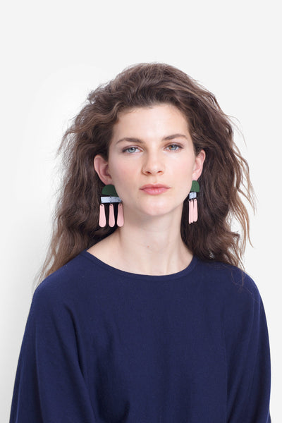 Esben Multi-Coloured Drop Earring Model Denim