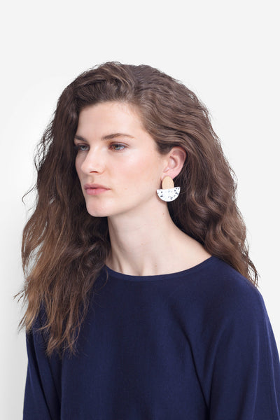 Kerda Wooden Monochrome Earring Model Front Angled WHITE