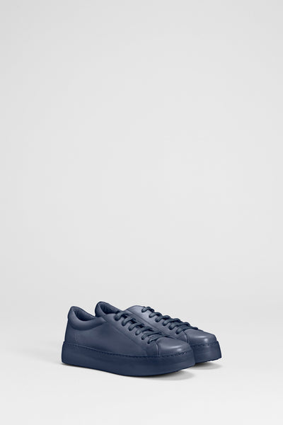 Vikran Leather Rounded Toe Flatform Front Angled NAVY