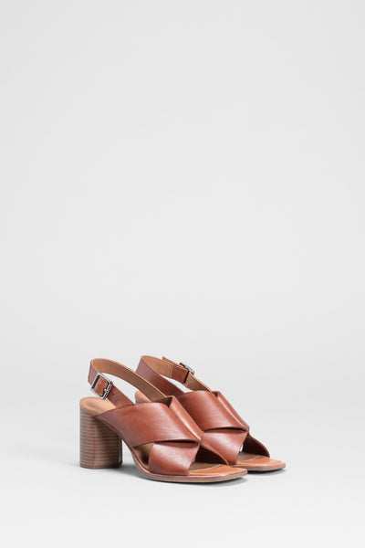 Agata Block Heeled Leather Sandal Side Front TAN