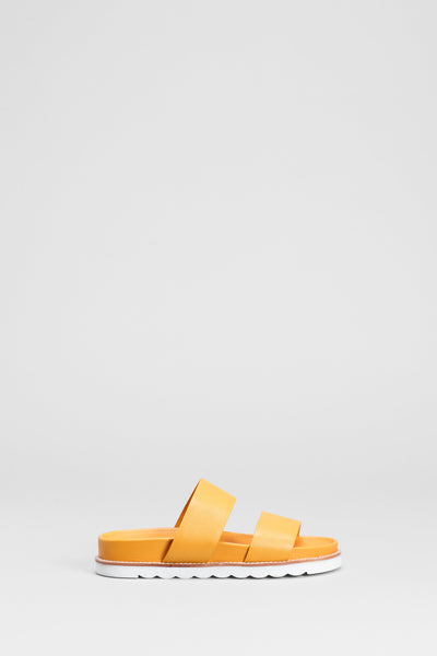 Berit Leather Strap Sandal Side  | YELLOW