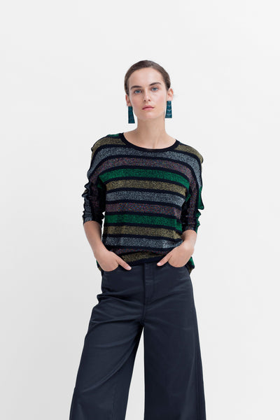 Ander Metallic Multi-Coloured Stripe Sweater Model Styled Front