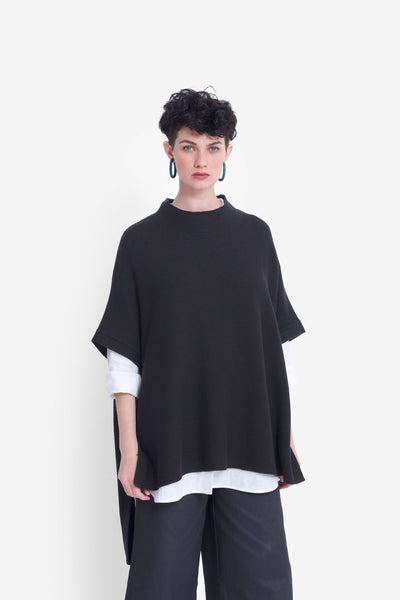 Hakan High Neck Poncho Model Front | BLACK