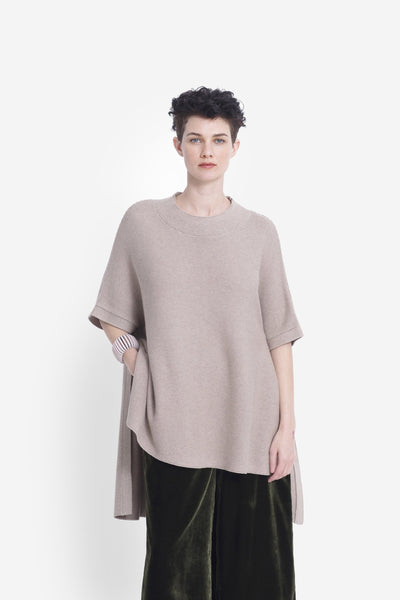 Hakan High Neck Poncho Model Front | OATMEAL
