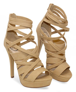 MVE Shoes Women's Strappy Platform Open Toe High Heels Dear Nude