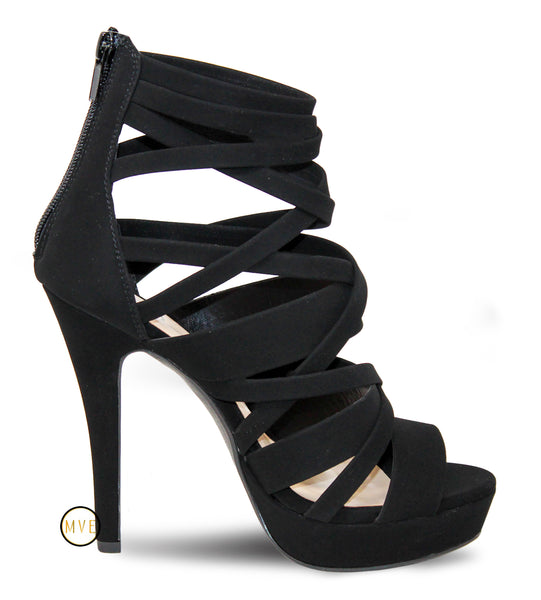 MVE Shoes Women's Strappy Platform Open Toe High Heels Dear Black