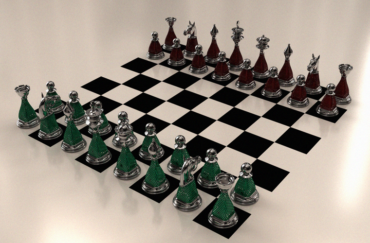 Chess Pieces with Crystals set on Metal