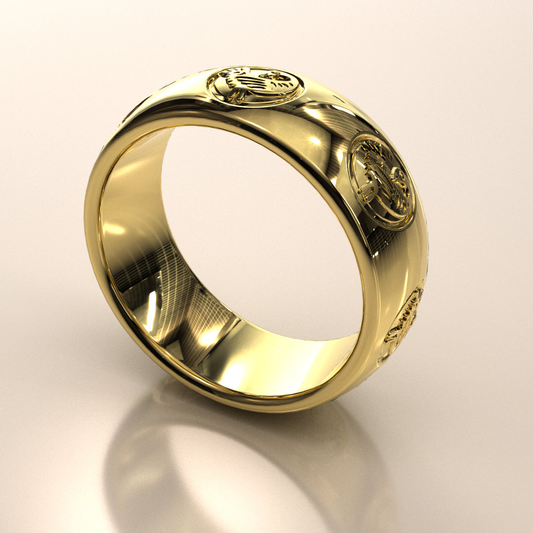 Sankofa Bird Multi-Symbol Ring