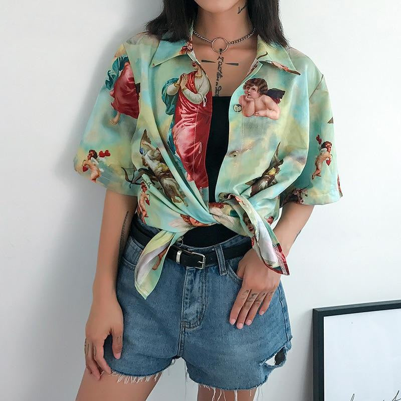 Angel Button Up Top