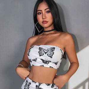 White Butterfly Tube Top