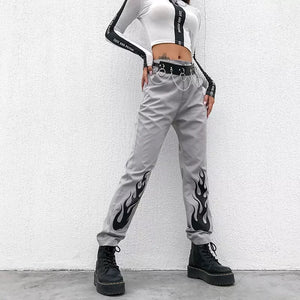 Fire Print Elastic Pants