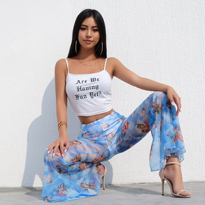 Mesh Angel Flare Pants