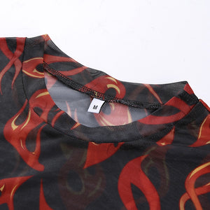 Fire Printed Mesh Top