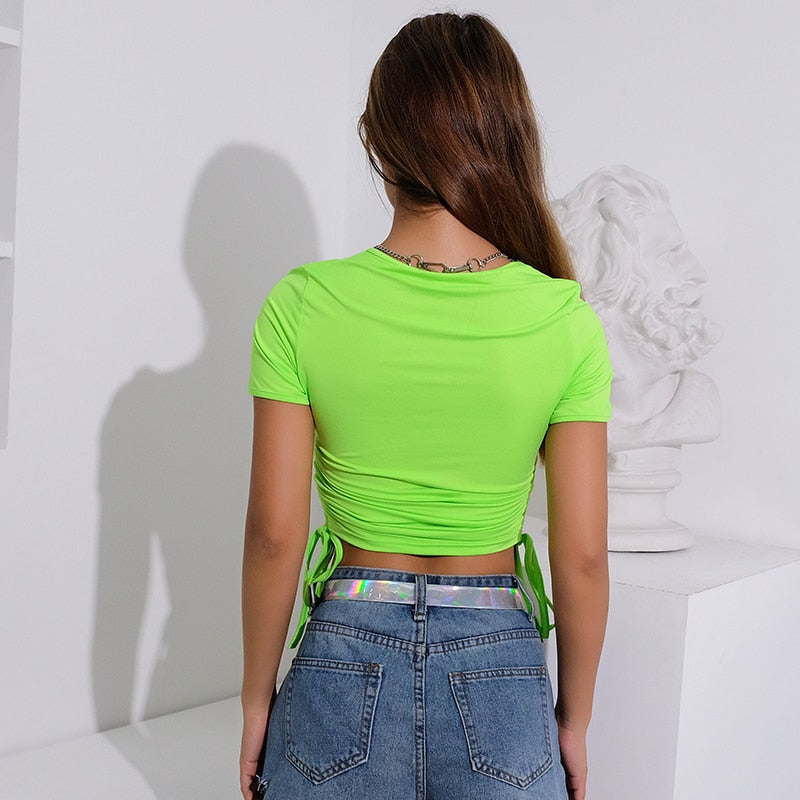 Ruched Neon Green Top
