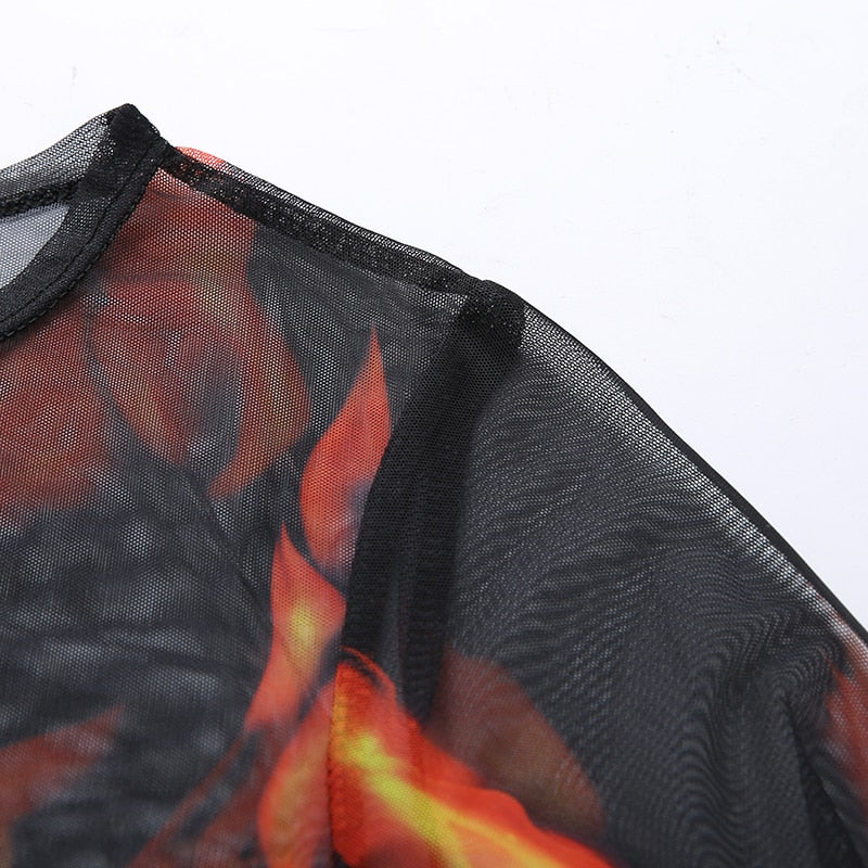 Up In Flames Mesh Top