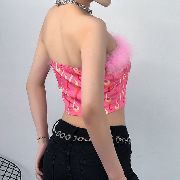 Pink Fur Flame Tube Top