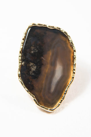Black Plume Marfa Agate Ring With Crystallization