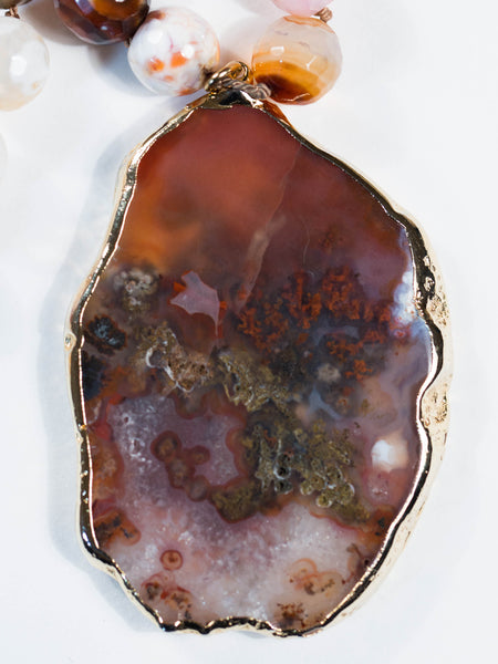 Multi Colored Moss Agate On Bead Necklace