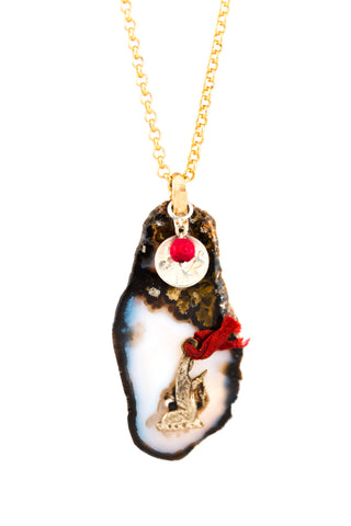Marfa Agate With Praying Madonna And Charms