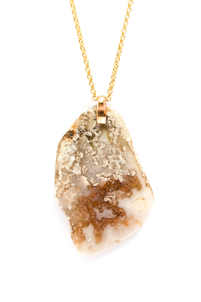 Creamy White Agate Necklace with Gold Chain
