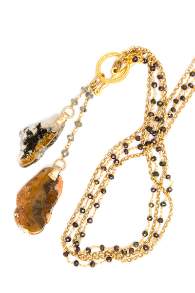 Gold Lariat Style Necklace with Natural Agates