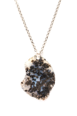 Marfa Moss Agate on Silver Chain
