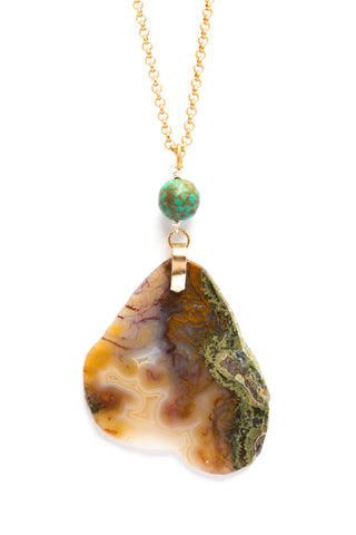 Colorful Moss Agate on Gold Chain