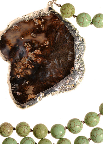 Marfa Black Agate And Turquoise Necklace