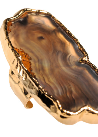 Gold Marfa Agate Ring
