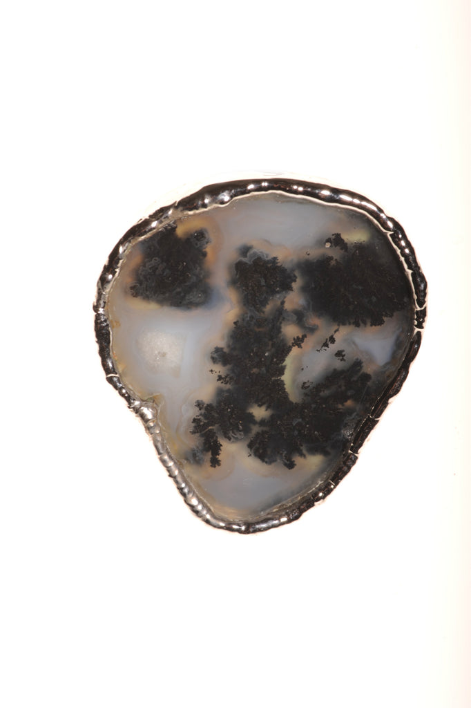 Black Moss Agate Ring In Silver