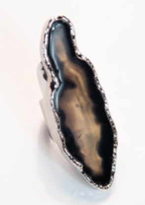 Silver Ring With Black Banded/Moss Marfa Agate
