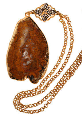 Colorful Marfa Agate On Gold Chain