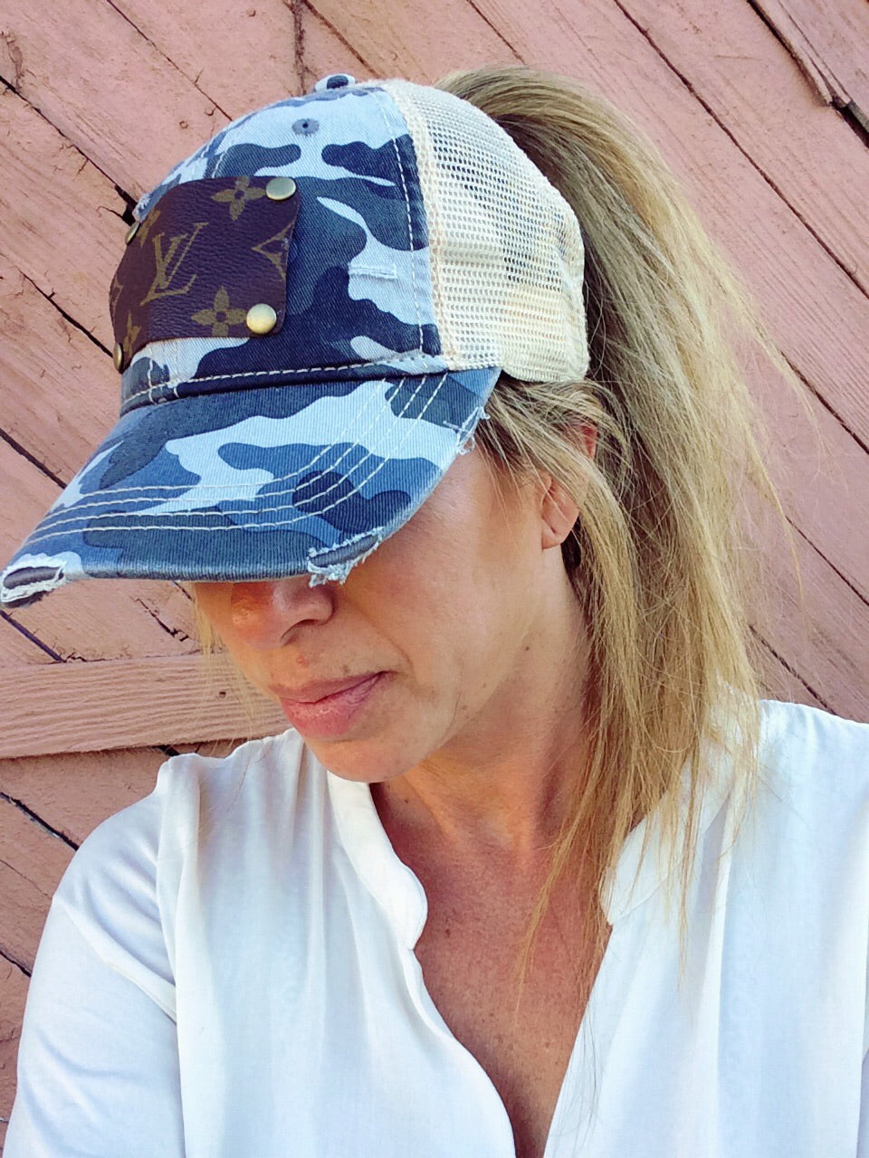 Blue Camo Upcycled LV Ponytail Cap