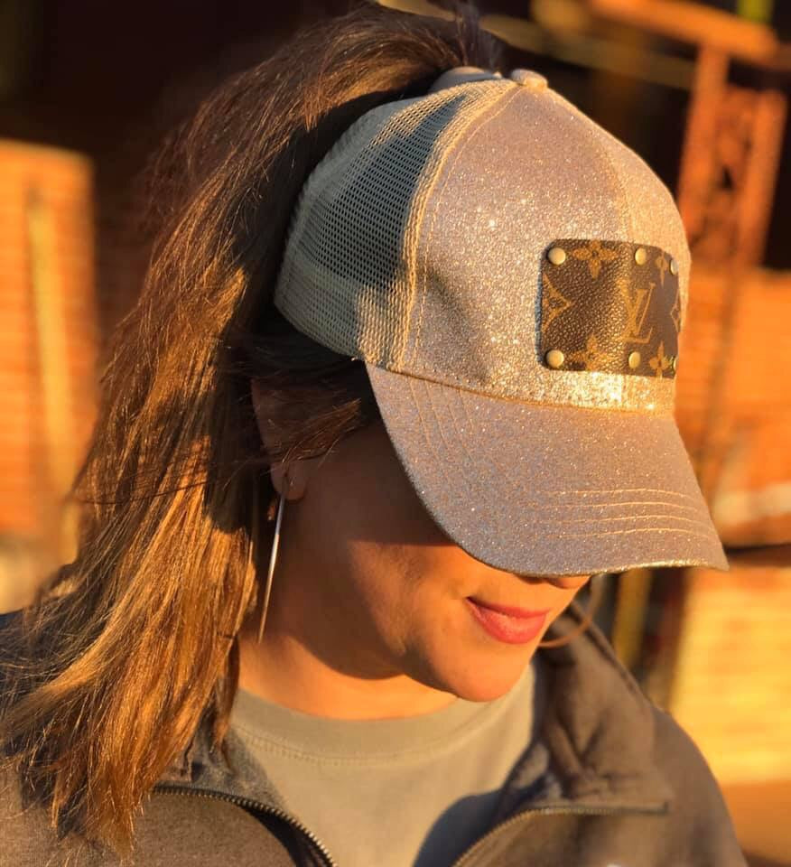 Gold Glitter Up-Cycled LV Distressed Ponytail Cap