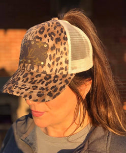 Mackenzie Up-cycled LV Distressed Ponytail Cap
