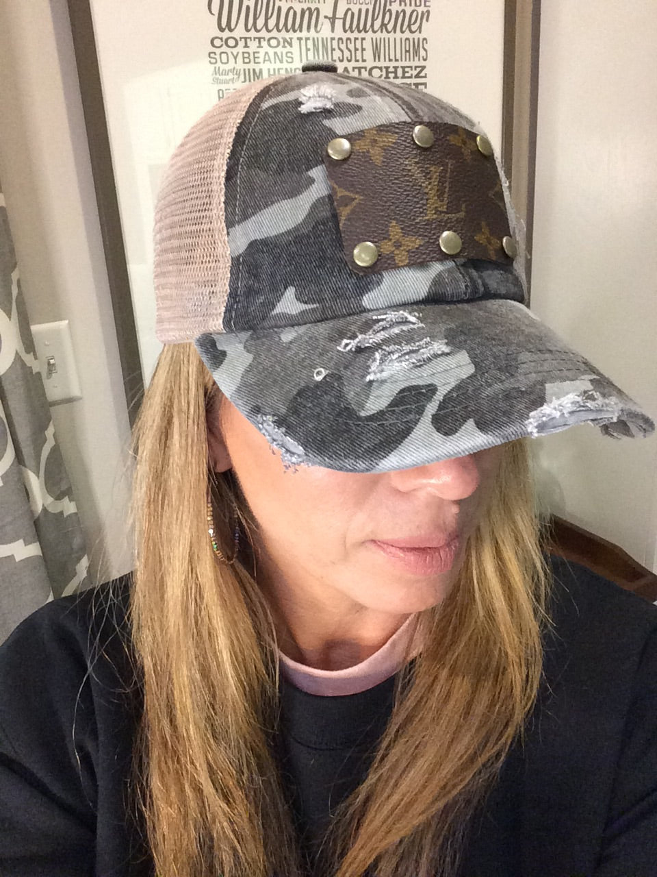 Grey Camo Up-Cycled LV Criss Cross Baseball Cap